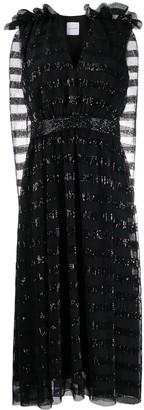 Halpern Sleeveless Flared Dress