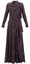 Chloé Aquatic Floral-print Slit-hem Maxi Dress - Womens - Navy Multi