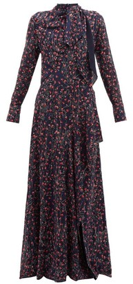 Chloé Aquatic Floral-print Slit-hem Maxi Dress - Womens - Navy Multi