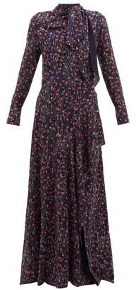 Chloé Aquatic Floral Print Slit Hem Maxi Dress - Womens - Navy Multi