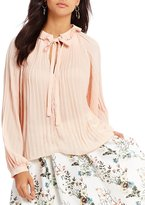 Lucy Paris Pleated Mock Neck Blouse