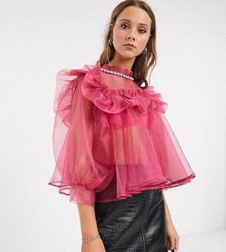 Sister Jane oversized blouse with embellished collar and puff sleeves in organza