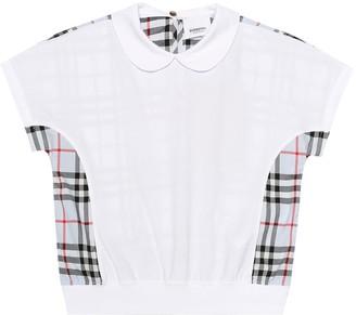 BURBERRY KIDS Checked cotton polo shirt
