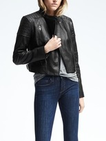 Banana Republic Black Leather Moto Jacket