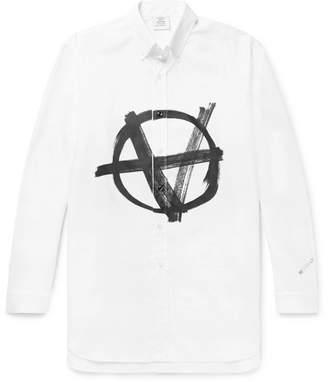Vetements Button-Down Collar Logo-Print Cotton-Poplin Shirt