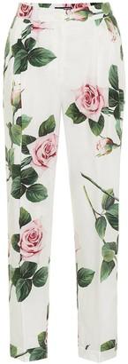 Dolce & Gabbana Floral cotton cigarette pants