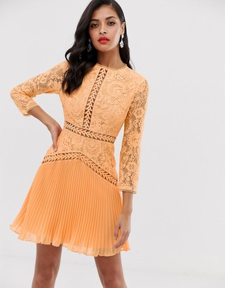 Asos Design DESIGN lace mini dress with trim inserts and pleated skirt-Multi