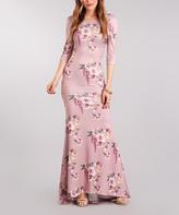 Pink Floral Three-Quarter Sleeve Maxi Dress - Plus Too