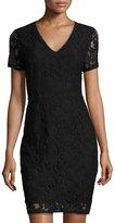 T Tahari Lace-Overlay Sheath Dress, Black
