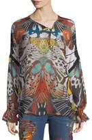Roberto Cavalli Long-Sleeve Butterfly-Print Silk Blouse