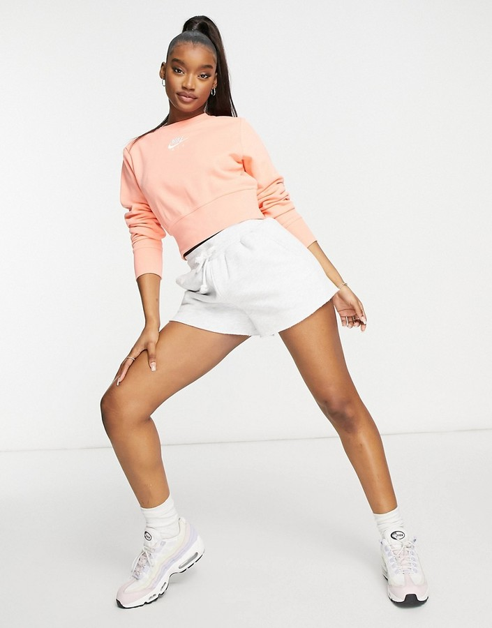 Thumbnail for your product : Nike cropped fleece sweatshirt in peach