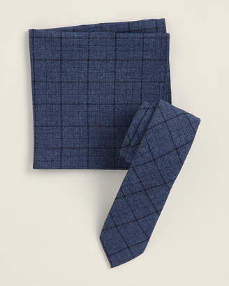 Original Penguin Two-Piece Kearny Grid Navy Pattern Tie & Pocket Square Set
