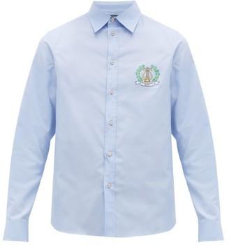 Gucci Crest-logo Cotton-poplin Shirt - Mens - Blue