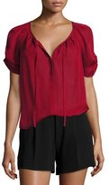 Joie Berkeley Silk Self-Tie Neck Top, Bordeaux Rose