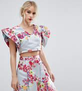 Asos SALON Floral Jacquard Crop Top Co-ord