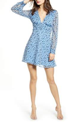 Leith Floral Shirred Waist Long Sleeve Dress