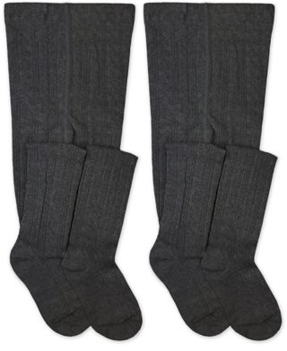 Jefferies Socks Girls Tights, 2 Pack Cable Knit Stockings, Sizes S-L
