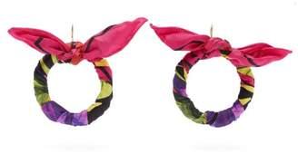 Balenciaga Silk-twill Hoop Drop Earrings - Womens - Multi