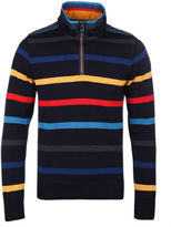 Paul & Shark Multi Stripe New Wool Quarter Zip Sweater