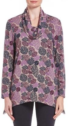M&Co TIGI cowl neck leaf print tunic