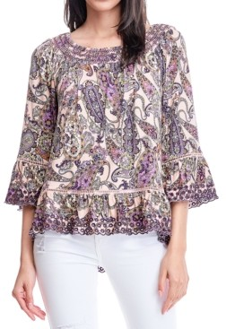 Fever Paisley-Print Eyelet-Embroidered Top
