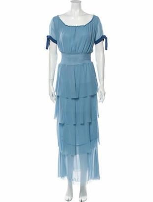 STAUD Scoop Neck Long Dress Blue