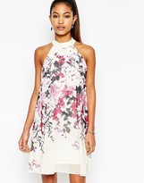 Lipsy High Neck Babydoll Dress In All Over Floral Print