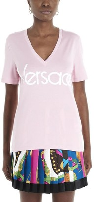 Versace Logo Printed V-Neck T-Shirt