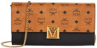 MCM Mena Visetos Leather Block Flap Wallet/Two-Fold Large (Black) Handbags