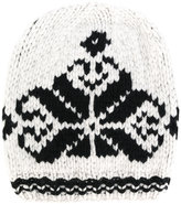 Antonia Zander knit hat with embroidered print