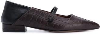 L'Autre Chose Crocodile Two-Tone Ballerina Shoes