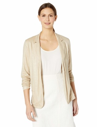 Majestic Filatures Women's Linen/Silk/Elastane Metallic Long Sleeve Open Blazer