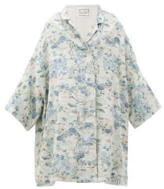 By Walid Jasemine 19th-century Kimono-inspired Silk Coat - Blue Print