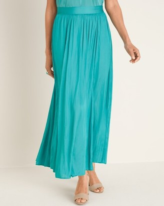 Chico's Pleated Satin Maxi Skirt