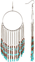 Cara Accessories Seed Bead Fringe Hoop Earrings