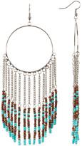 Cara Accessories Seed Bead Fringe Hoop Earrings