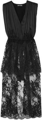 Alexander McQueen Asymmetric Silk-satin And Cotton-blend Lace Tunic