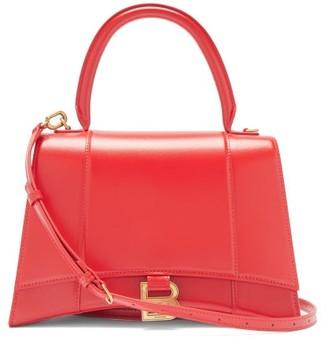 Balenciaga Hourglass Medium Leather Shoulder Bag - Red