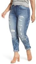 Melissa McCarthy Plus Size Women's Destructed Roll Cuff Skinny Jeans