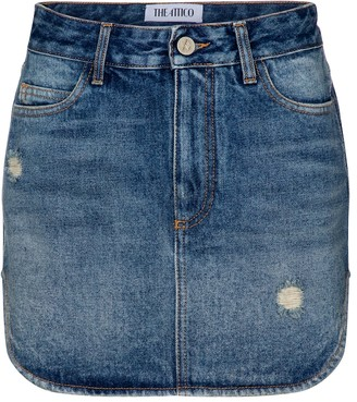 ATTICO High-rise denim miniskirt