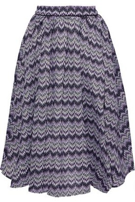 Maje Pleated Crochet-knit Skirt