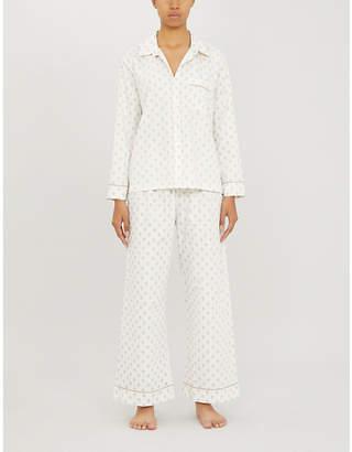 Pour Les Femmes Fleur-de-lis cotton-jersey pyjama set
