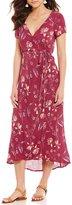 Billabong Wrap Me Up Floral-Printed V-Neck Short-Sleeve Wrap Midi Dress