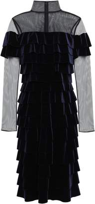 Mikael Aghal Tulle-paneled Tiered Velvet Dress