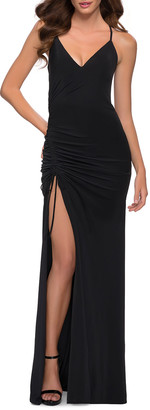 La Femme Jersey Halter Gown with Ruching