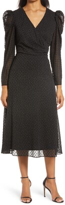 Julia Jordan Metallic Clip Dot Long Sleeve Midi Dress