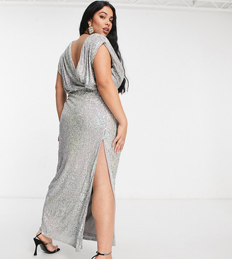 Jaded Rose Plus exclusive wrap plunge sequin maxi with thigh split in iridescent silver