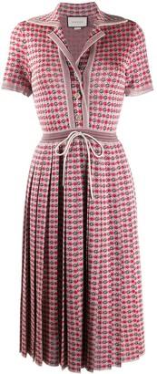 Gucci Logo-Jacquard Drawstring Midi-Dress