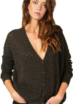 Louizon - Kaki Nylon Gypsy Gilet Knitted Waistcoat - SIZE 1 - Black/White