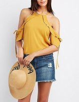 Charlotte Russe Ruffle-Trim Cold Shoulder Tie Top